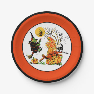 Vintage Halloween Witch & Ghost Paper Plate