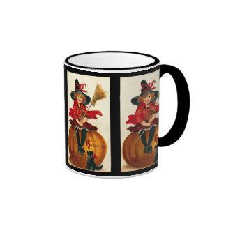 Vintage Halloween Witch Girl And Black Cat Ringer Mug