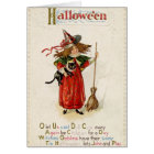 Vintage Halloween Witch Girl With Black Cat Card