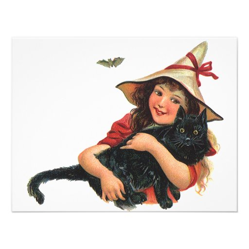 Vintage Halloween Witch Holding a Black Cat Personalized Announcement