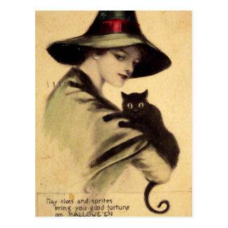 Vintage Halloween Witch Holding Black Cat Postcard