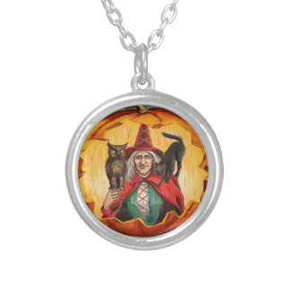Vintage Halloween Witch Image on a Necklace
