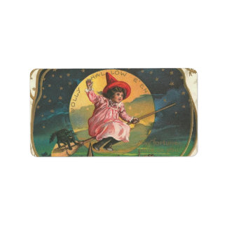 Vintage Halloween Witch Image on Label