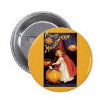 Vintage Halloween, Witch Jack o Lanterns Pumpkins Pins