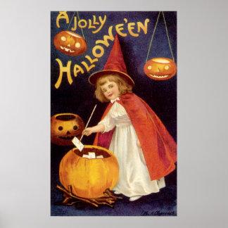 Vintage Halloween, Witch Jack o Lanterns Pumpkins Poster