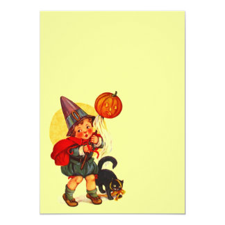 "Vintage Halloween Witch JOL Cat Blank Invitation 5"" X 7"" Invitation Card"