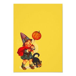 Vintage Halloween Witch JOL Cat Blank Invitation