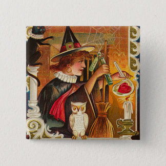 Vintage Halloween Witch Magic Button
