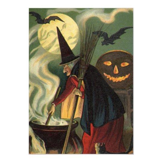 Vintage Halloween Witch Magic Cauldron Invitation
