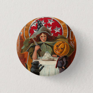 Vintage Halloween Witch Magic Pinback Button