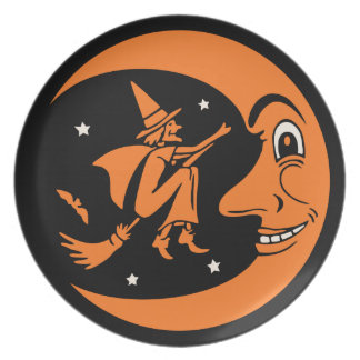 Vintage Halloween Witch, Moon, and Bat Party Plate