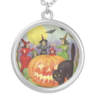Vintage Halloween Witch, Moon and Cat Necklace