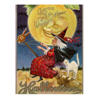 Vintage Halloween witch moon cat postcard