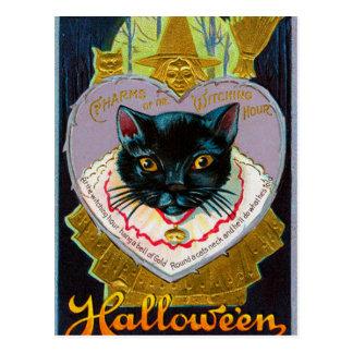 Vintage Halloween witch moon cat postcard