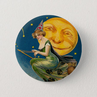 Vintage Halloween Witch Moon Pinback Button