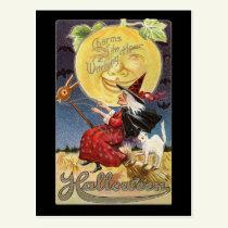 Vintage Halloween Witch Moon Postcard