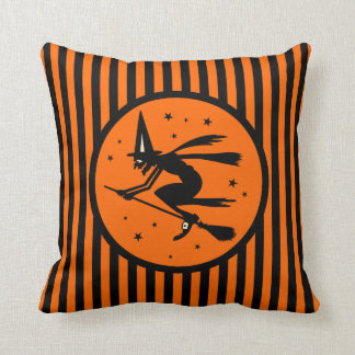 Vintage Halloween Witch on Broom Pillow