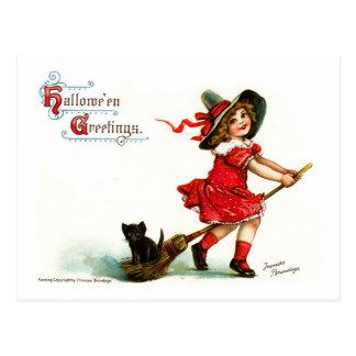 Vintage Halloween witch on her broom Postcard
