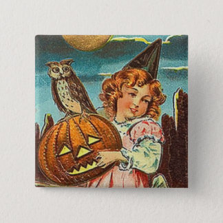 Vintage Halloween Witch Pinback Button