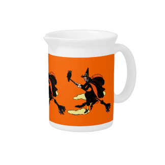 Vintage Halloween Witch Beverage Pitcher