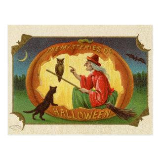 Vintage Halloween Witch Postard Postcard