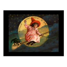 Vintage Halloween Witch Postcard at Zazzle
