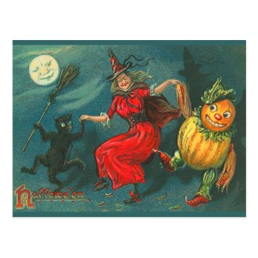 Halloween Themed Vintage Halloween Witch Postcard