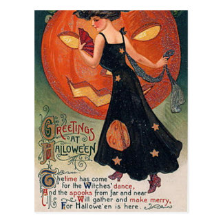 Vintage Halloween Witch & Pumpkins Postcard