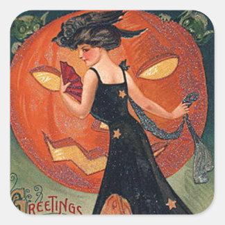 Vintage Halloween Witch & Pumpkins Square Sticker