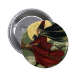 Vintage Halloween Witch Riding a Broom and Moon Pins