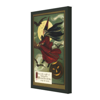 Vintage Halloween Witch Riding a Broom and Moon Canvas Print