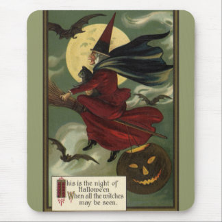 Vintage Halloween Witch Riding a Broom and Moon Mouse Pad
