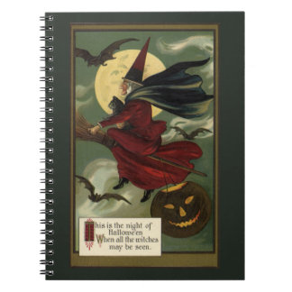 Vintage Halloween Witch Riding a Broom and Moon Note Book