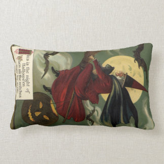 Vintage Halloween Witch Riding a Broom and Moon Pillows