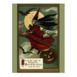 Vintage Halloween Witch Riding a Broom and Moon Postcard