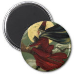 Vintage Halloween Witch Riding a Broom with Cat 2 Inch Round Magnet