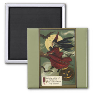 Vintage Halloween Witch Riding a Broom with Cat 2 Inch Square Magnet