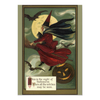 Vintage Halloween Witch Riding a Broom with Cat 5x7 Paper Invitation Card