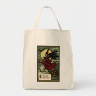 Vintage Halloween Witch Riding a Broom with Cat Grocery Tote Bag