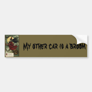 Vintage Halloween Witch Riding a Broom with Cat Bumper Sticker