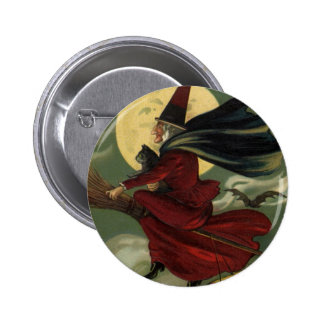 Vintage Halloween Witch Riding a Broom with Cat 2 Inch Round Button