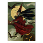 Vintage Halloween Witch Riding a Broom with Cat Card