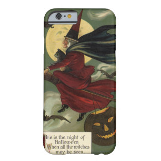 Vintage Halloween Witch Riding a Broom with Cat Barely There iPhone 6 Case
