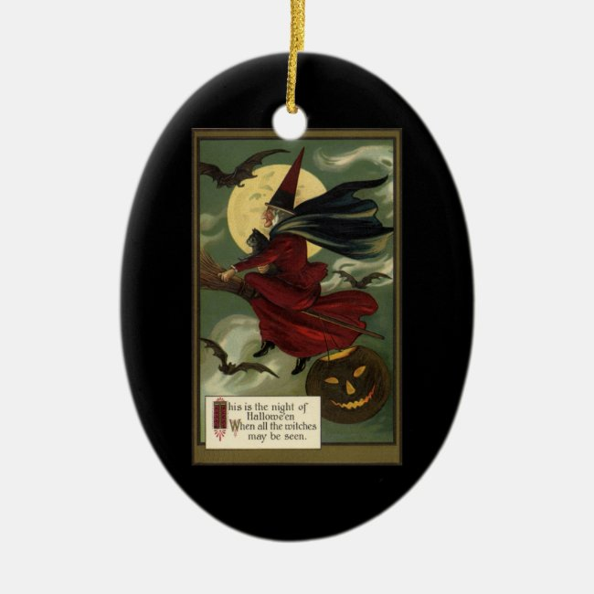Vintage Halloween Witch Riding a Broom with Cat Ceramic Ornament