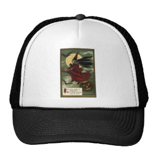 Vintage Halloween Witch Riding a Broom with Cat Trucker Hat