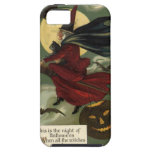 Vintage Halloween Witch Riding a Broom with Cat iPhone 5 Cases