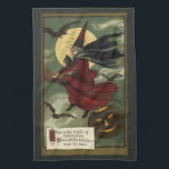 """Vintage Halloween Witch Riding a Broom with Cat Kitchen Towel<br><div class=""""desc"""">Vintage illustration Halloween holiday design featuring a wicked evil witch flying on a broom with her black cat in her lap. They are flying through the night sky on All Hallows Eve with a full moon, bats and a spooky jack-o-lantern pumpkin. This is the night of Halloween when all the...</div>"""