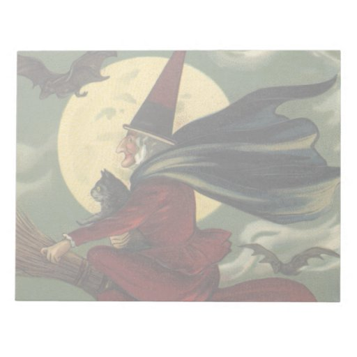 Vintage Halloween Witch Riding a Broom with Cat Memo Note Pad