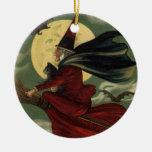 Vintage Halloween Witch Riding a Broom with Cat Double-Sided Ceramic Round Christmas Ornament