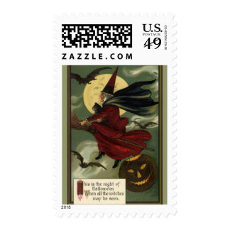 Vintage Halloween Witch Riding a Broom with Cat Postage Stamp